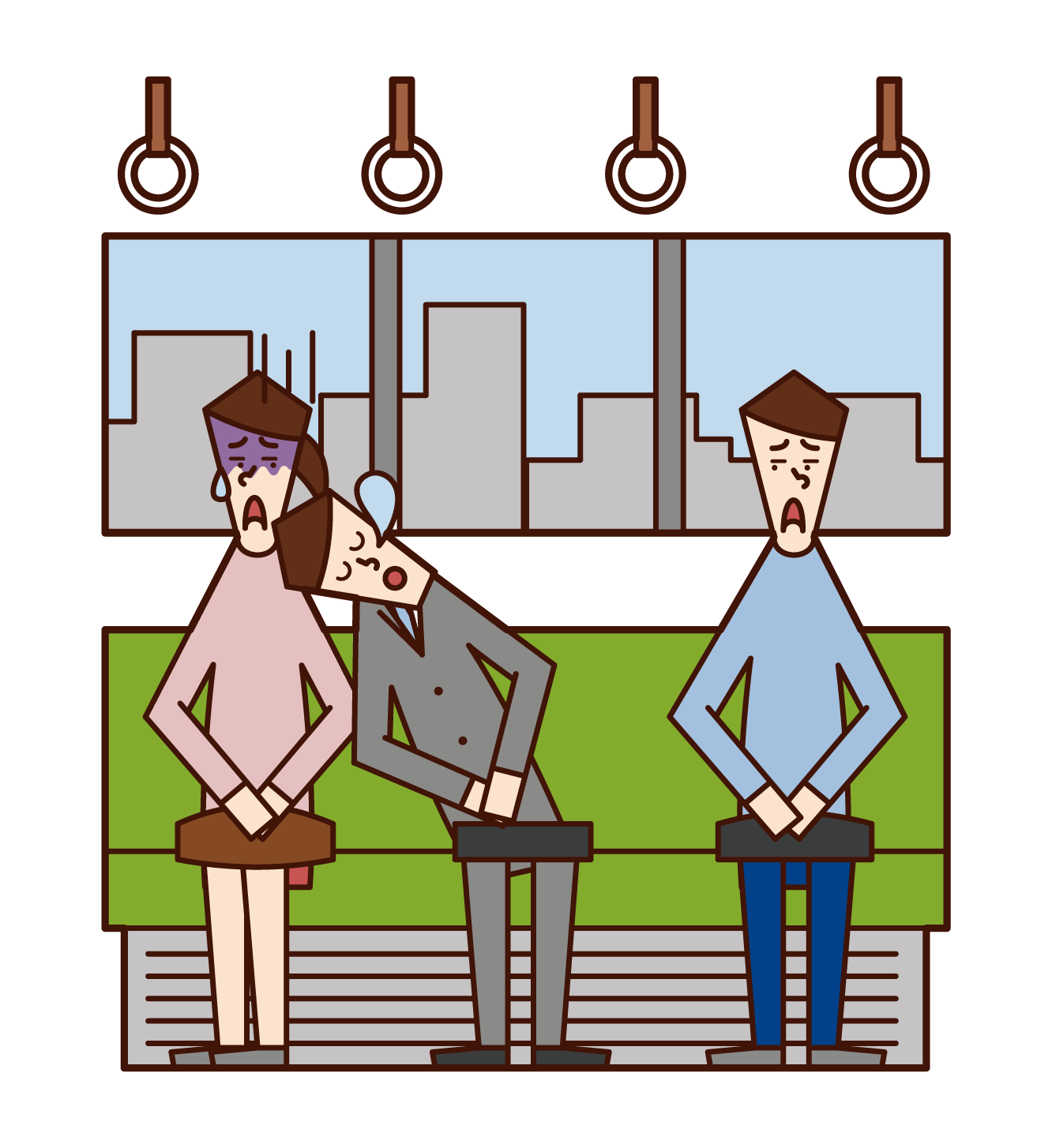 Illustration of a man sleeping while leaning on the person next to him on the train