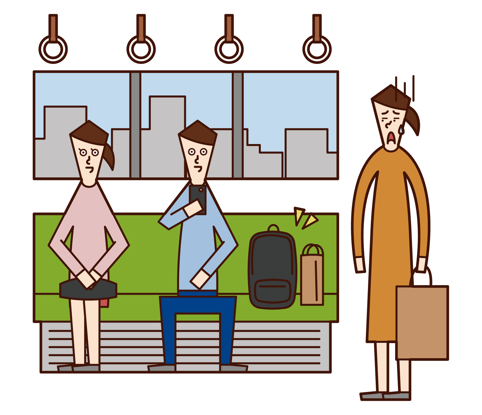 기차 좌석에 수하물을 넣은 사람들의 일러스트
