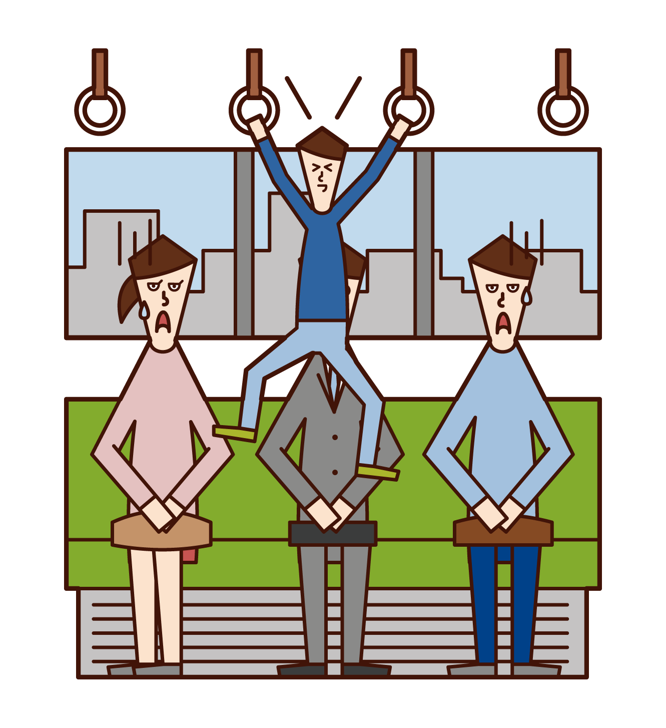 Illustration of a child (boy) hanging on a hanging leather on a train