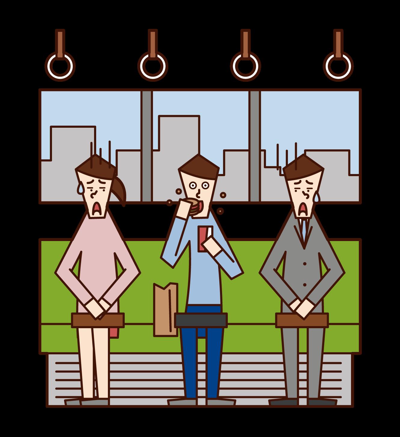 在火車上吃喝的人(男性)的插圖