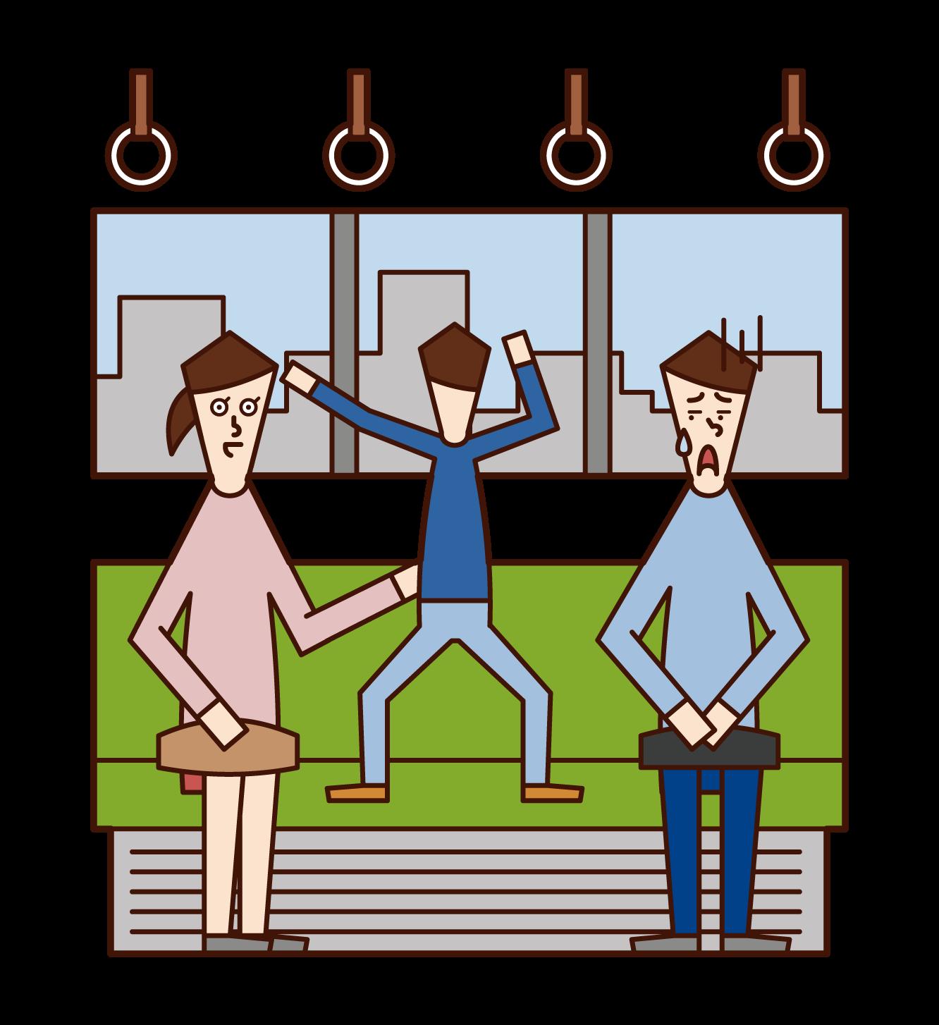 在火車上玩耍的孩子(男孩)的插圖
