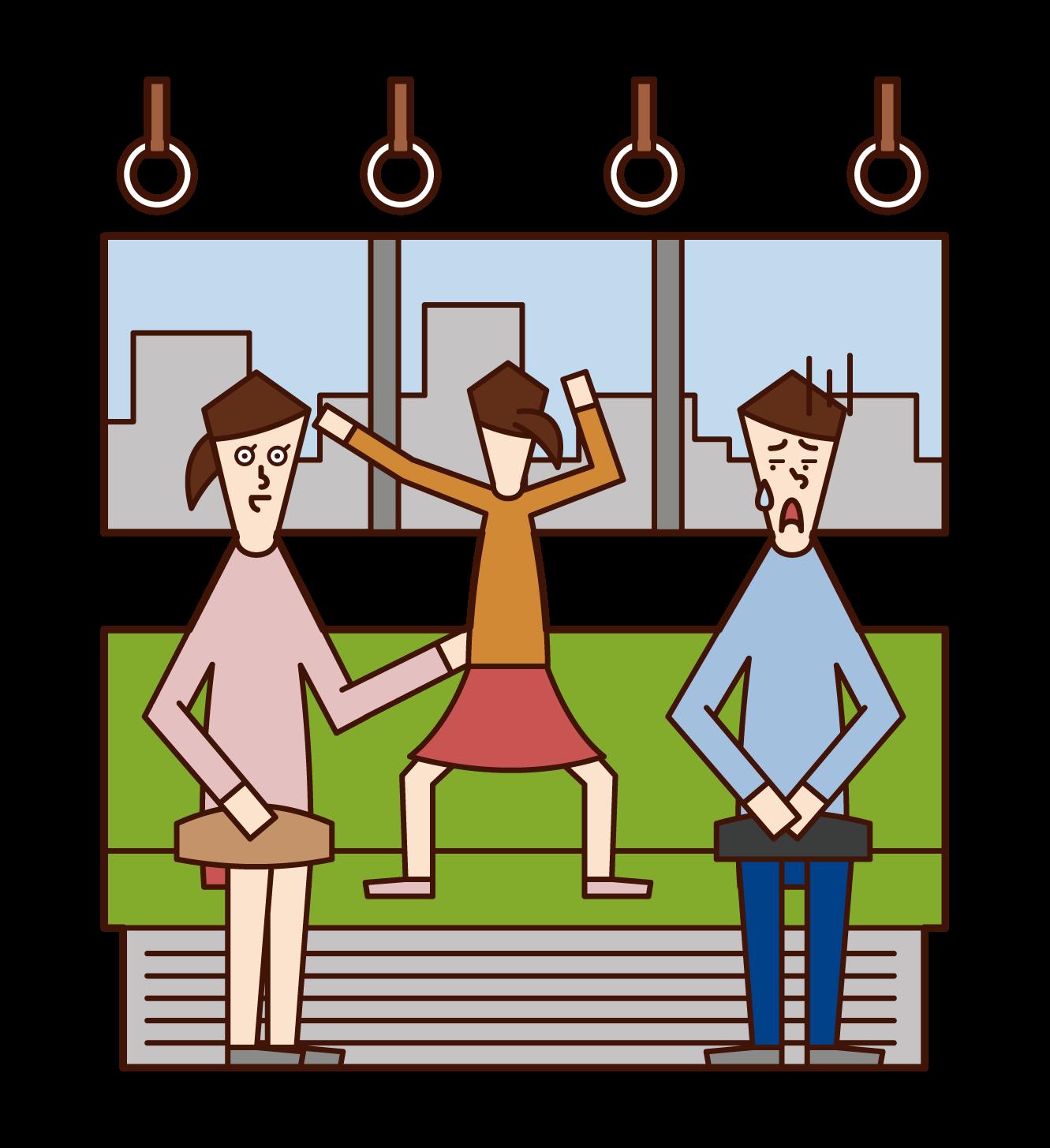 在火車上玩耍的兒童(女孩)插圖