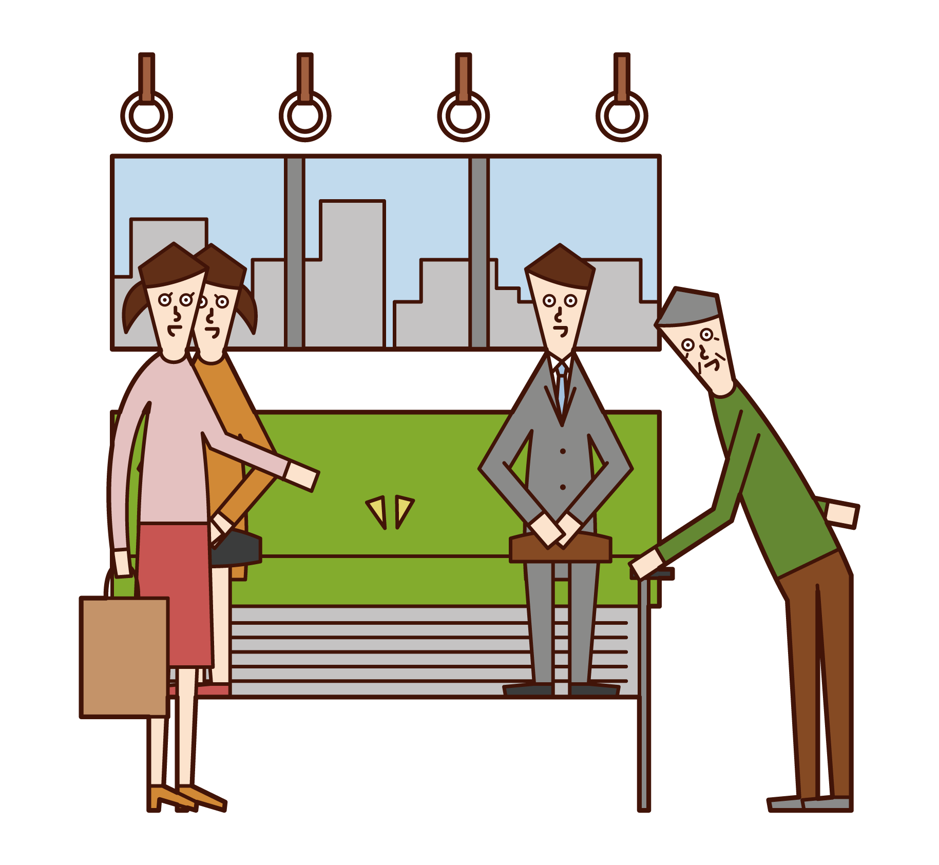 Illustration of a woman giving up her seat to an old man on a train