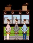 기차의 그물 선반에 수하물을 넣어 사람들의 그림