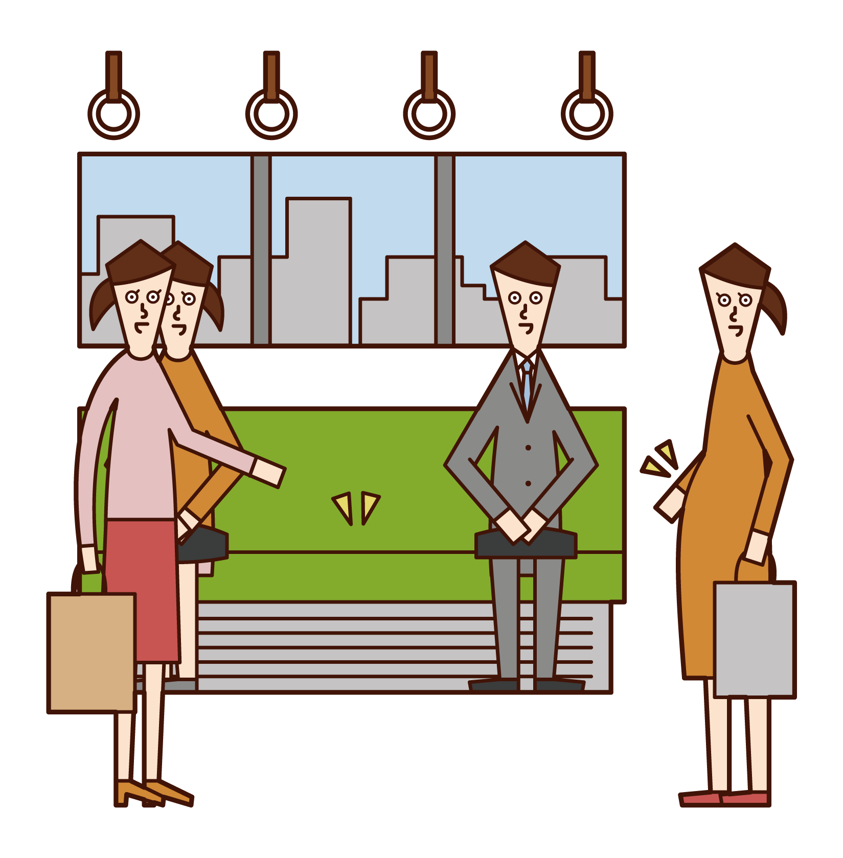 Illustration of a woman giving up her seat to a pregnant woman on a train
