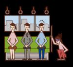 電車内で体調不良を訴える人(女性)のイラスト