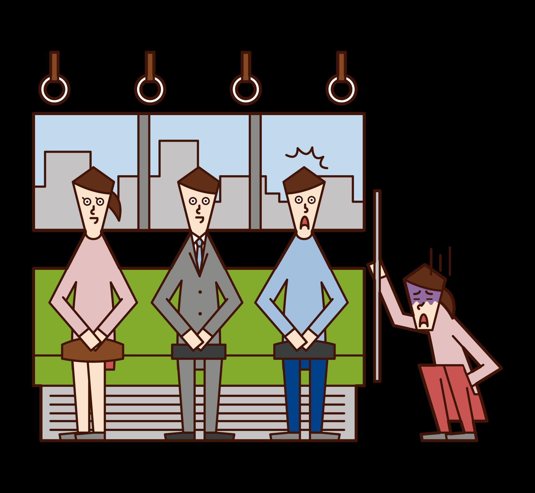 在火車上抱怨身體不適的人(女性)的插圖