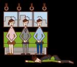 電車内で倒れる人(男性)のイラスト