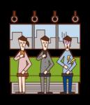 기차에서 복통을 가진 사람 (남성)의 그림