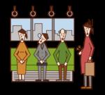 在火車上不放棄優先座位的人(男性)的插圖