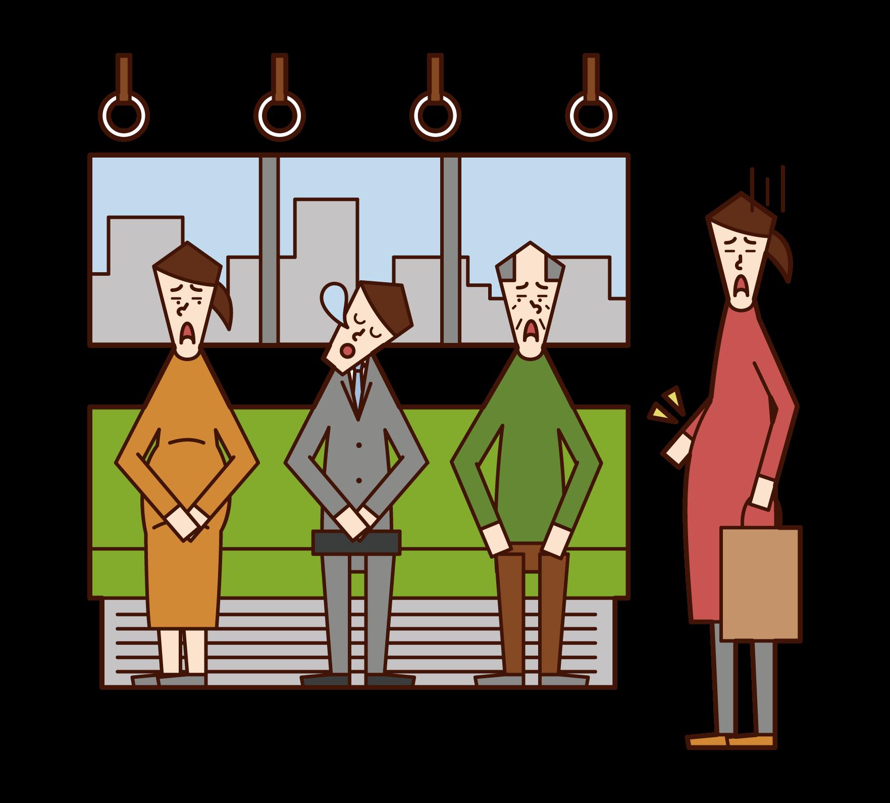 기차에서 우선 좌석을 포기하지 않는 사람 (남성)의 그림