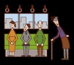 電車内で優先座席を譲らない人(男性)のイラスト