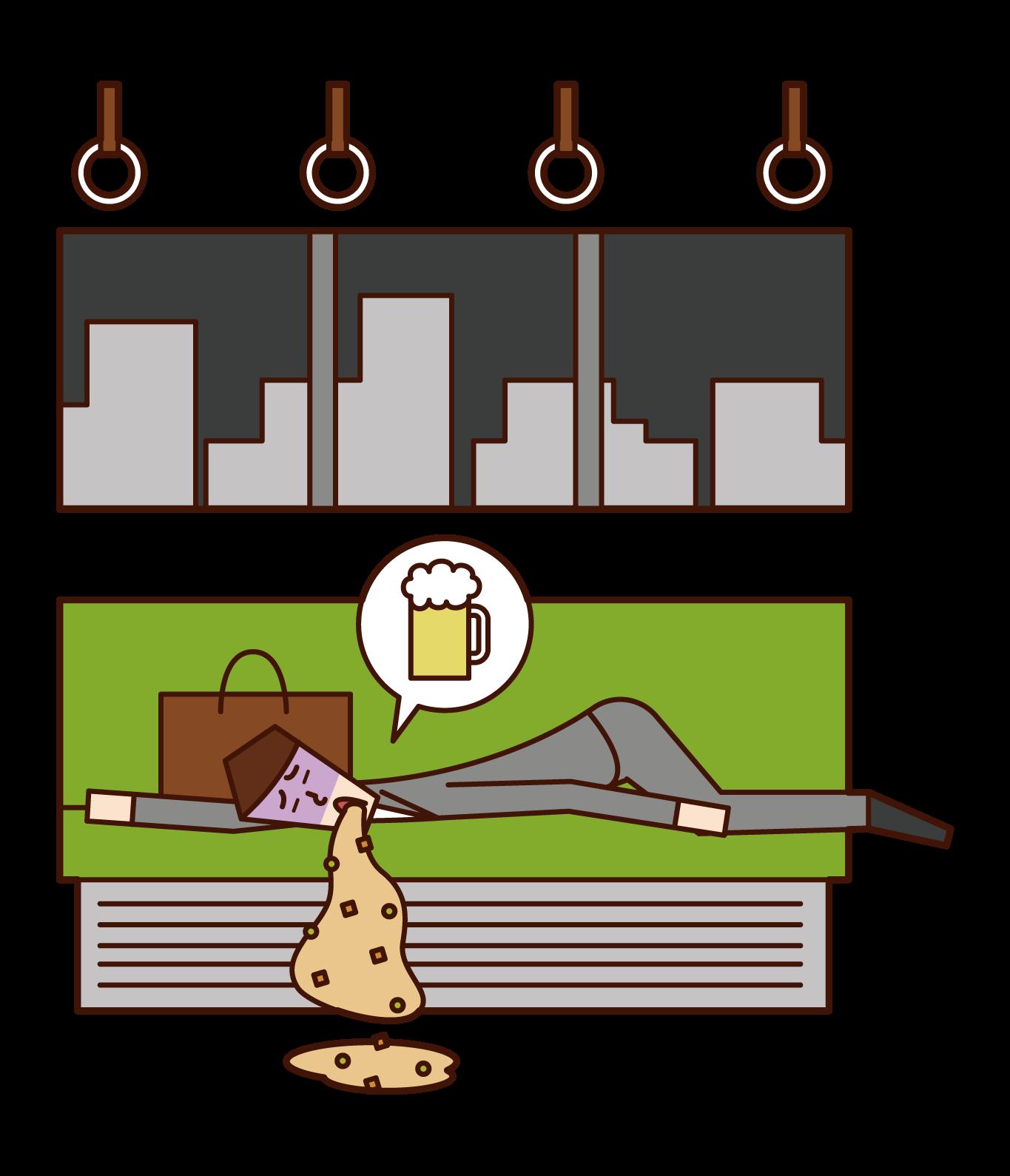 Illustration of drunk (man) vomiting on train