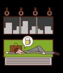 醉漢(男性)在火車上躺下的插圖