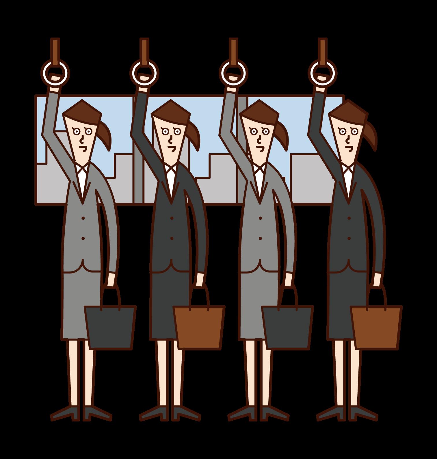 Illustration of people (women) on a commuter train