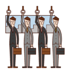 Illustration of people (men) on a commuter train