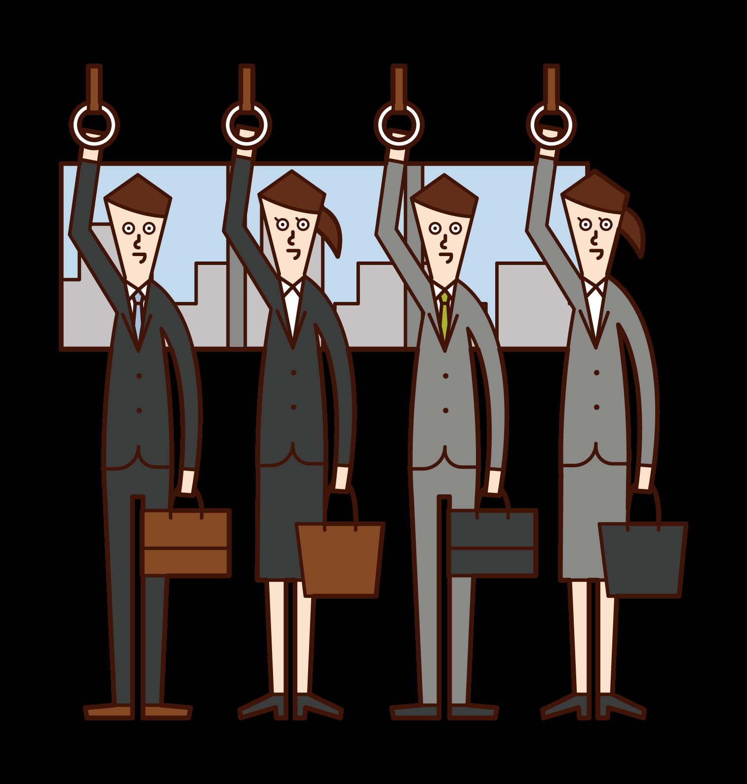 Illustration of people on commuter train