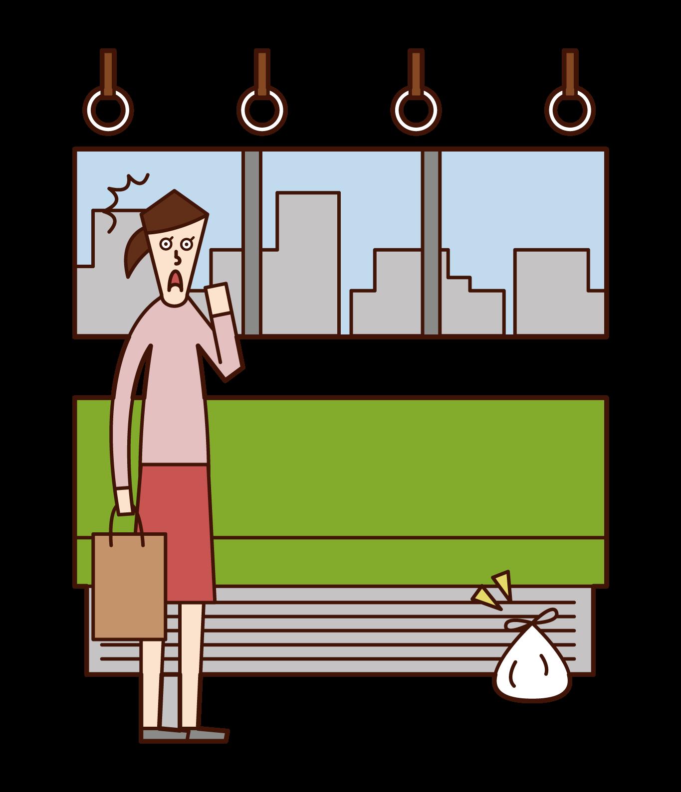 電車内で不審物を発見した人(女性)のイラスト