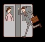 電車に駆け込み乗車をする人(男性)のイラスト