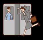 기차에 탑승한 사람(여성)의 일러스트