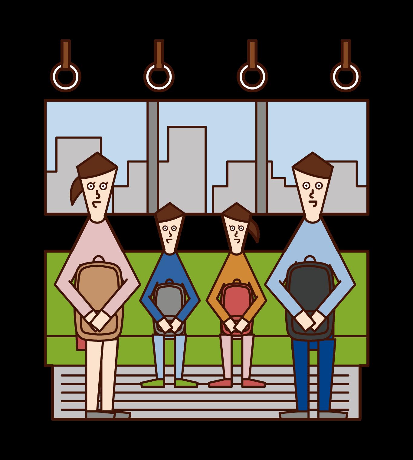 火車上的家庭插圖