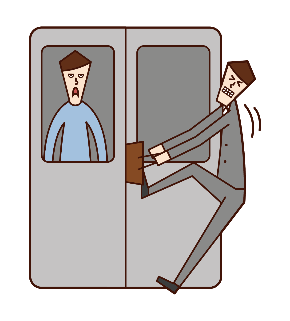 Illustration of a man with luggage caught in a train door