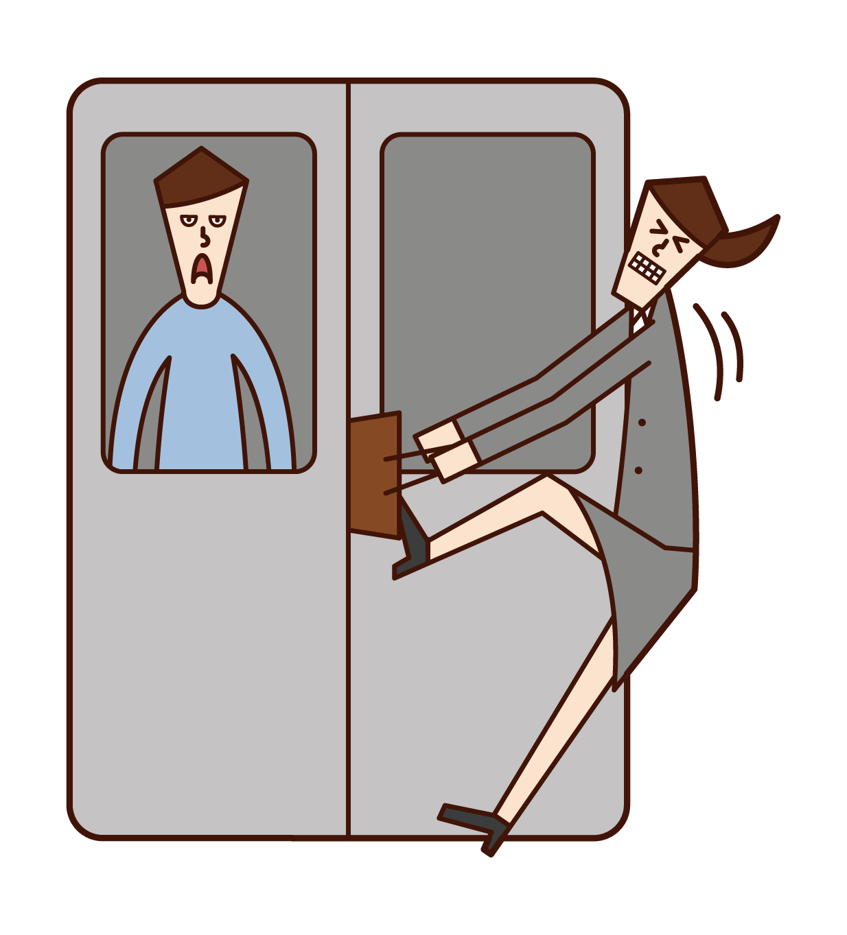 Illustration of a woman with luggage stuck in a train door