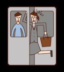 乘車的人(女性)的插圖