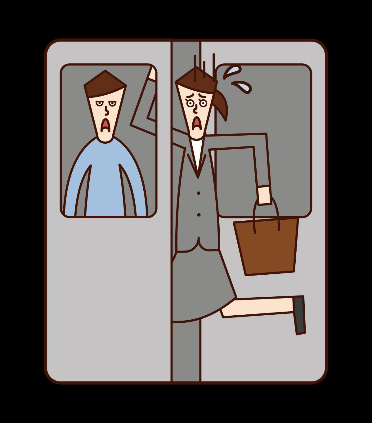 駆け込み乗車をする人(女性)のイラスト