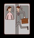 乘車的人(男性)的插圖