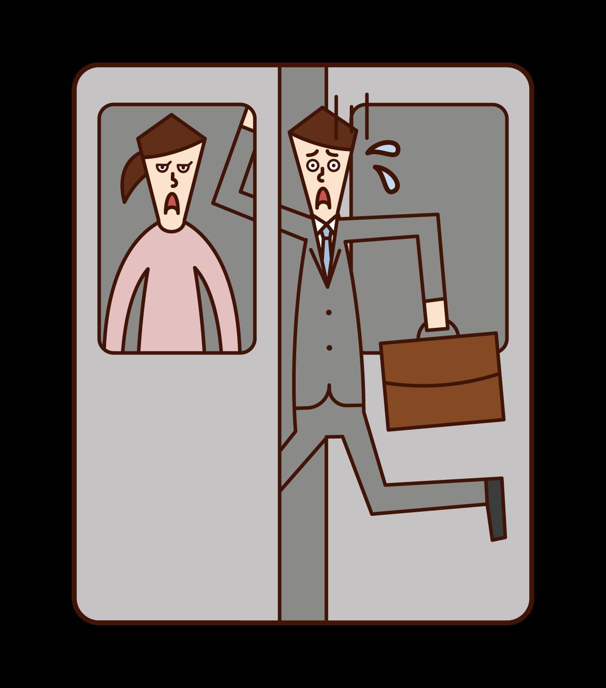 駆け込み乗車をする人(男性)のイラスト