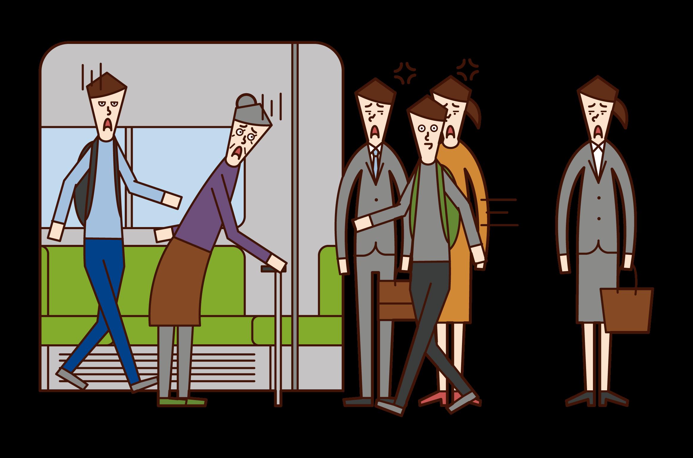 乘車者(男性)的插圖