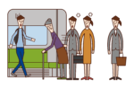 Illustration of a person (grandmother) who rides out of order