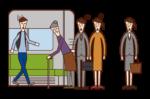 버스에 탑승한 사람의 차례의 일러스트