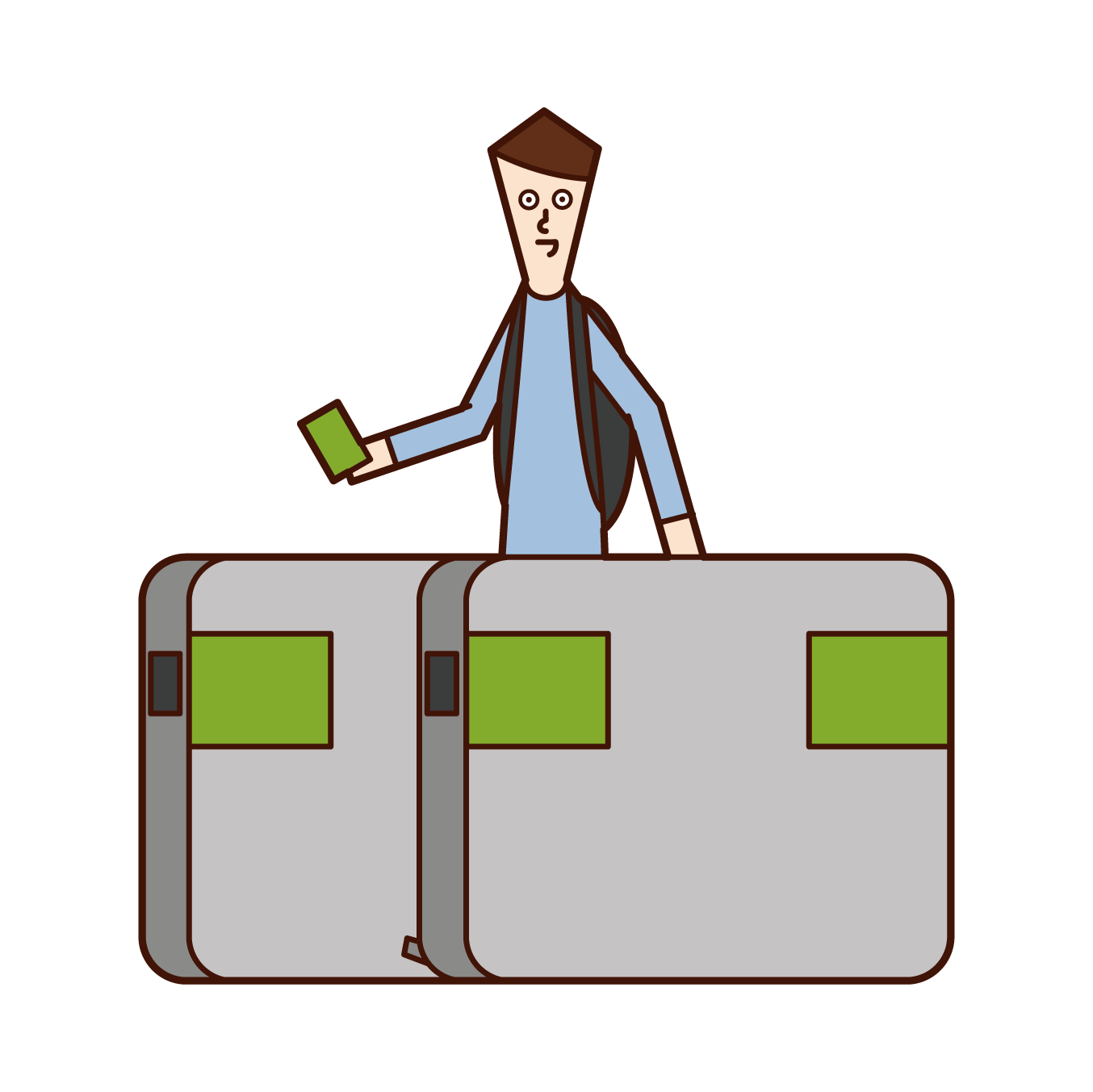 Illustration of a man passing through the ticket gate of a station