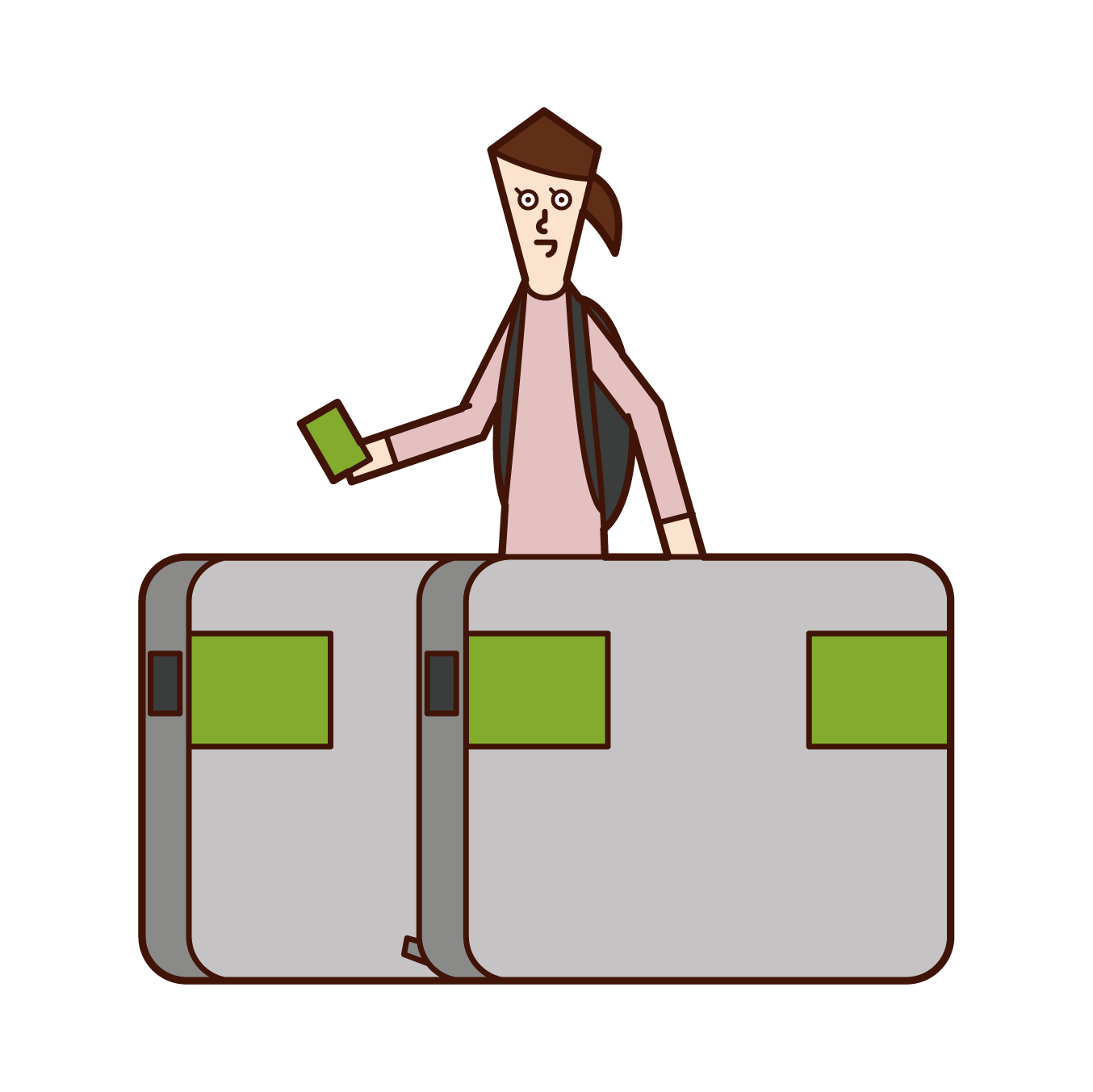 Illustration of a woman passing through the ticket gate of a station
