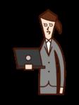 帶電腦的人(女性)的插圖