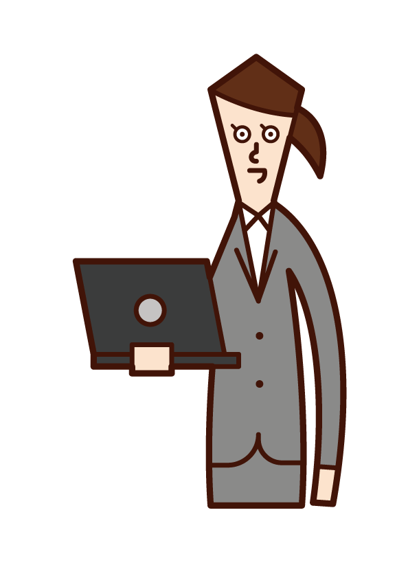 Illustration of a woman with a personal computer