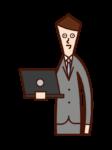 帶電腦的人(男性)的插圖