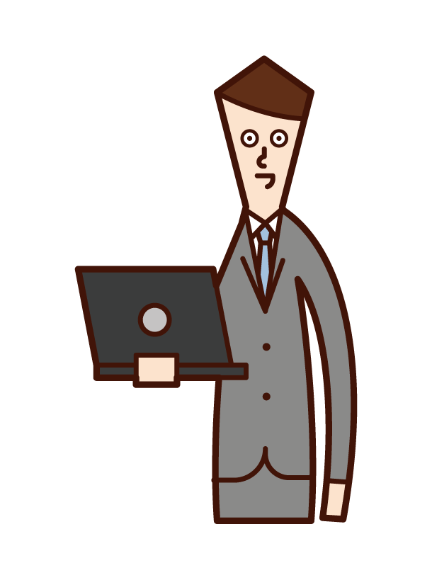 Illustration of a man with a personal computer