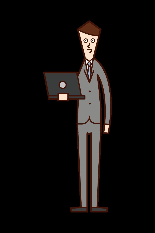 パソコンを持つ人(男性)のイラスト