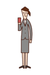 Illustration of a woman with a smartphone or card