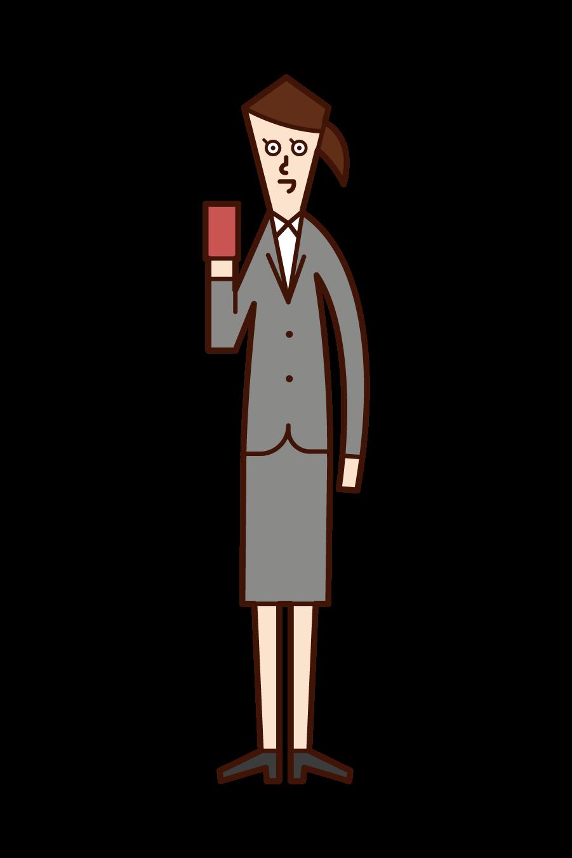 帶智慧手機或卡片的人(女性)的插圖