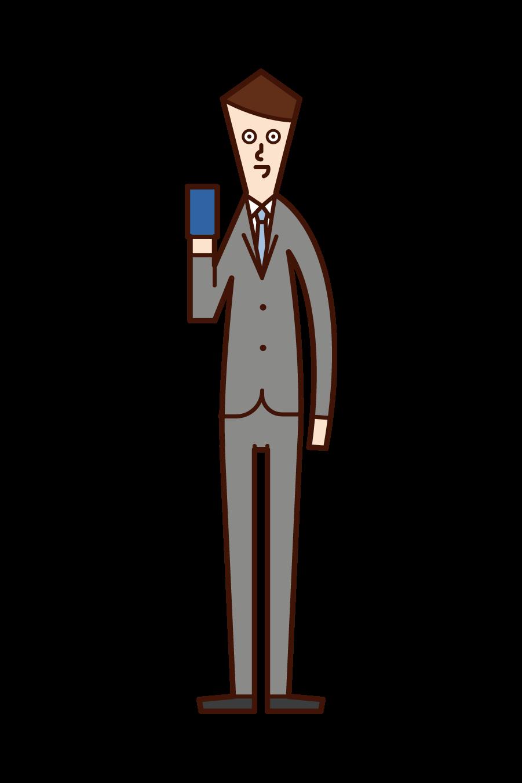 スマートフォンやカードを持つ人(男性)のイラスト