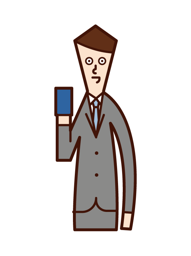 帶智慧手機或卡片的人(男性)的插圖