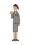 Illustration of a woman with a credit card in her hand