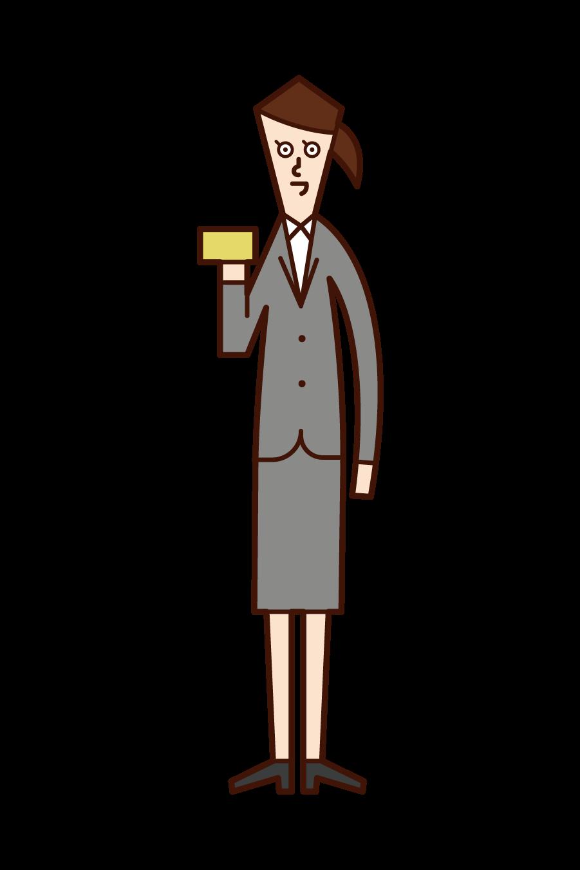 クレジットカードを手に持つ人(女性)のイラスト