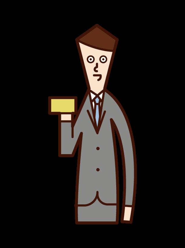 クレジットカードを手に持つ人(男性)のイラスト