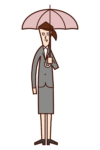 Illustration of a woman holding an umbrella
