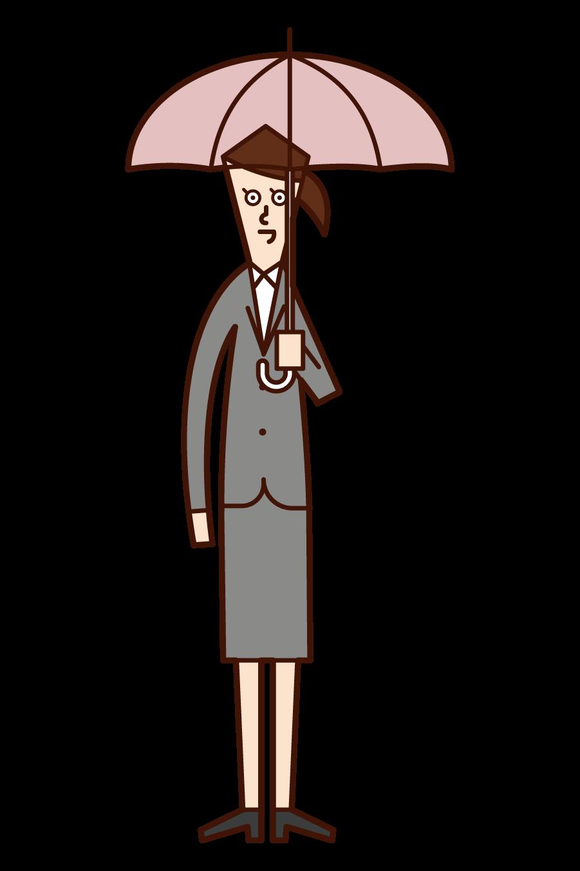 傘をさす人(女性)のイラスト
